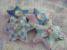 Stars made from old quilts, so much fun to make.
