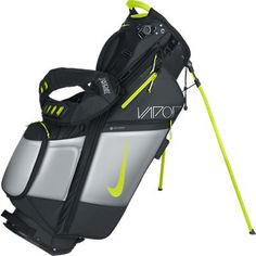 Black/Volt/Metallic Silver Nike Ladies/Men's Air Hybrid V Carry Golf Stand Bag at #lorisgolfshoppe