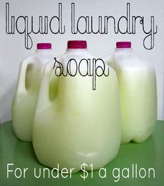 Liquid Laundry Soap: mix together 3 ingredients in water, less than $1 per gallon!  I'm never buying laundry detergent again!