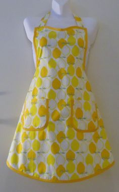 Yellow lemon Apron with YellowTrim