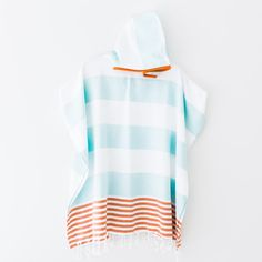 Ladies Hooded Poncho - Sky and Tangerine Stripes