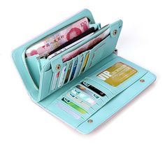 Would love to have a long wallet with cash area fun print or bright color or leather
