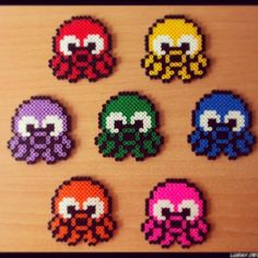 Colorful octopuses perler beads by felix210400
