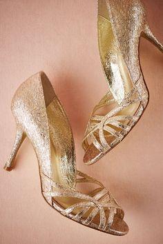Michael Kors Gold Wedding Shoes Peep Toe Low Heel wedding