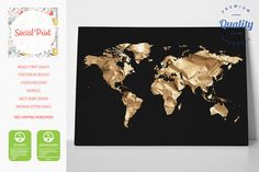 Any color world map canvas print free shipping home decor world gold world map on black canvas print free shipping home decor world map gumiabroncs Image collections