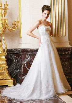 A Line Sweetheart Sleeveless Beading/ Embroidery Floor Length Attached Organza Wedding Dress