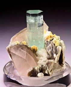 Aquamarine with Quartz & Muscovite Mica