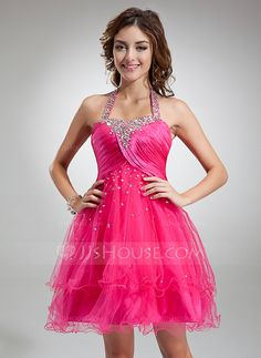 Cocktail Dresses - $132.29 - A-Line/Princess Halter Knee-Length Tulle Charmeuse Cocktail Dress With Ruffle Beading Sequins (016016339) http://jjshouse.com/A-Line-Princess-Halter-Knee-Length-Tulle-Charmeuse-Cocktail-Dress-With-Ruffle-Beading-Sequins-016016339-g16339