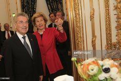 Austrian President Heinz Fischer listens to Princess Marie of Liechtenstein during a visit as...