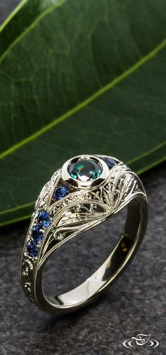 Edwardian Alexandrite and Sapphire Engagement Ring #GreenLakeJewelry http://www.vannajewelry.com/product-category/rings/