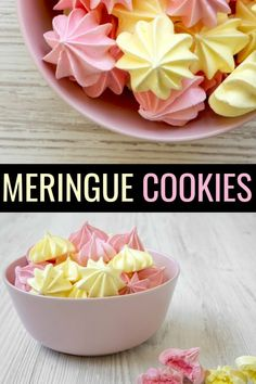 Get ready to create the perfect meringue with only 5 ingredients using this easy meringue cookies recipe. These cookies melt in your mouth! Egg White Meringue Recipe, Easy Meringue Cookies, Meringue Cookie Recipe, Cookie Recipes, Dessert Recipes, Baked Meringue, Raspberry Meringue, White Chocolate Chip Cookies, Chewy Sugar Cookies