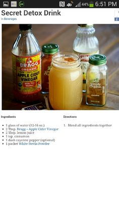 Apple Cider Vinegar Detox Drink. There are a few people around the office who are doing this. I guess it is time to jump on the bandwagon!