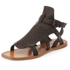 Bottega Veneta Woven Leather Gladiator Sandal, Espresso