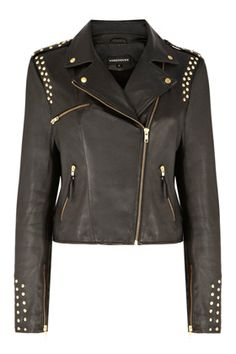STUDDED LEATHER BIKER JACKET - Warehouse  Price: £195.00