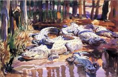 """Muddy Alligators"" 1917 watercolor painting by John Singer Sargent. The piece is currently seen by appointment only at the Worcester Art Museum in Worcester, MA. John Singer Sargent Watercolors, Chef D Oeuvre, Oil Painting Reproductions, American Artists, Painting Techniques, Les Oeuvres, Art Museum, Art History, Watercolor Paintings"