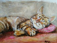 Sleeping cat portrait, Acrylic colors on paper by Hina Pet Portraits DM sassosaby@gmail.com