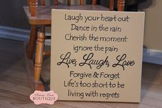 Canvas 12x12 Sign, Laugh Your Heart Out, LIVE LAUGH LOVE, Wall Art, Inspirational, Gifts for Her, Birthday Gift, Weddings