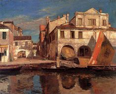 Canal Scene in Chioggia by Gustav Bauernfeind - Jewish Art Oil Painting Gallery Illustrator, Oil Painting Gallery, Jewish Art, Vintage Artwork, Beautiful Paintings, Marketing Digital, Art History, Istanbul, Paris