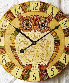 Love this Tan Owl Wall Clock on #zulily! #zulilyfinds