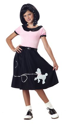 50s Hop Girls Poodle Skirt Costume - From Doo Wop to Rock, The jukebox is going and the rock is rollin'. This sweet poodle skirt is a black soft felt-like material, with a appliquéd white poodle with a pink bow and silver sequin leash. The waistband is elastic black sequin and gives the look of a belt. The tip is a soft pink crushed velvet with sequin trimmed collar and sleeves. #50s #poodleskirt #kids #yyc #calgary #costume #doowop #retro