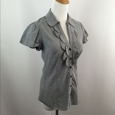 "Dorothy Perkins Pinstriped Short Sleeve Button Top Excellent/great condition. Scallop style detailing front. SZ 38, fits about S/M. Color: gray, white. Material: shell: cotton, polyamide, elastane. Lining: cotton. Approx measurements taken with item laying flat-no stretching-on one side. Bust(armpit to armpit): 16"". Length: 23.5"" not incl collar. Sleeve: 5.5"". Shoulder: 13.5"". Item:pma8.  🎀 1 business day handling - FAST SHIPPING. Dorothy Perkins Tops"