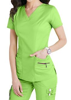Accents abound on this eco-friendly, figure-flattering and lightweight stretch scrub top! Citrus color is perfect for the season! Cute Scrubs Uniform, Scrubs Outfit, Stylish Scrubs, Medical Uniforms, Medical Scrubs, Nursing Clothes, Scrub Tops, Costume, Eco Friendly