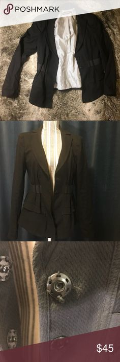 Nanette Lepore Size 8 Belted Black Jacket Nanette Lepore Lined Black belted Jacket! A wardrobe staple, perfect for the game, a chilly Office, or a lunch meeting!  Size 8.  Clasp closure could use a quick sew to tighten up but otherwise great! Cinched back for room, black belt.  Shell: 85% cotton 13% viscose 2% elastane Lining: 100% polyester Nanette Lepore Jackets & Coats Blazers