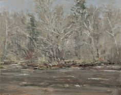 "Raymond Berry: Gilmans, Sycamores and Debris, December 20, 2015, Oil on Canvas, 16"" x 20"""