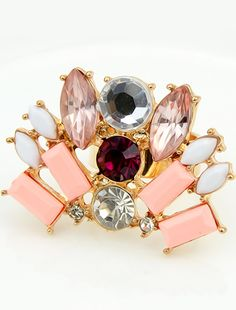 Pink Gemstone Gold Fashion Ring - Sheinside.com