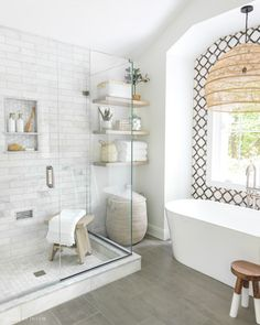Dream Bathrooms, Beautiful Bathrooms, Master Bathrooms, White Bathrooms, Luxury Bathrooms, Contemporary Bathrooms, Master Bathroom Shower, Public Bathrooms, Bath Shower