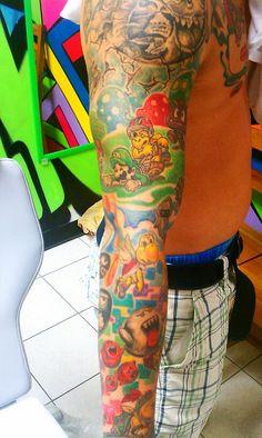 Duong Nguyen - wayofink.com    More of nintendo tattoo Retro Tattoos, 3d Tattoos, Tattoo Ink, Sexy Tattoos, Tattos, Sleeve Tattoos, Cool Tattoos, Nintendo Tattoo, Gaming Tattoo