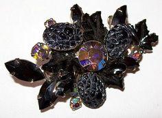 """Judy Lee Brooch Pin Designer Signed Black Givre & AB Rhinestones Floral Design Silver Metal 2.5"""" Vintage"""