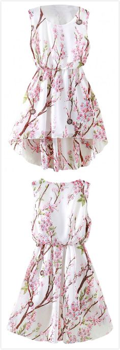 Azbro's Lovely Floral Print High-Low Dress,summer outfits,only for $12.94,more surprise @azbro.com