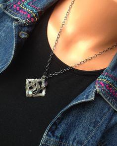 Amethyst, synthetic opal, fine silver pendant, sterling chain by TiarasNJewels on Etsy