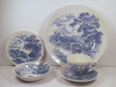 "Vintage 1960s ENOCH WEDGEWOOD ""Countryside Blue"" Dinnerware 5 pc Place Setting 