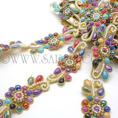 Multi Coloured Trim with mirror like sequins 1 metre width 50mm