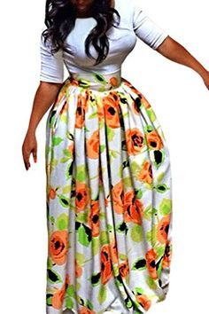 Women's African Print Pleated High Waist Maxi Skirt Wedding Dress Orange Medium * Click image to review more details. I'm an affiliateof amazon, so and so  .