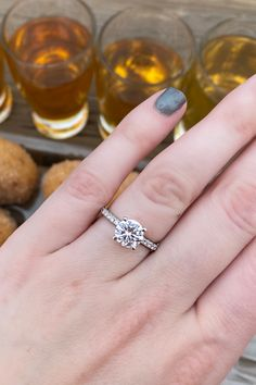 This A. Jaffe round diamond 4 prong engagement ring setting features a classic pave semi mount. Ring from Diamonds Direct. #classic #diamond #engagementring #rounddiamond #simple #engagementrings #4prong #setting #pave