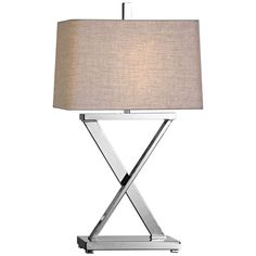 Uttermost Xavier Plated Polished Nickel X-Base Iron Table Lamp - #13Y63 | Lamps Plus