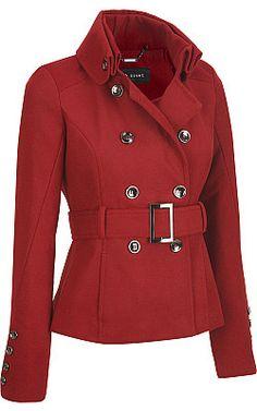 Plus Size Black Rivet Short Military Faux-Wool Belted Jacket - #WilsonsLeather #Plus