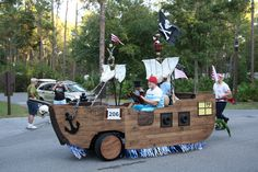 Pirate Ship Golf Cart in Parade