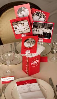 Festive Ruby Anniversary Centerpieces we could use sequinned boxes instead 40th Wedding Anniversary Party Ideas, Ruby Anniversary, Parents Anniversary, Anniversary Invitations, Anniversary Jewelry, Anniversary Parties, Anniversary Ideas, 40th Birthday Centerpieces, Photo Centerpieces