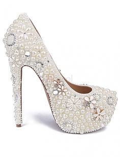 ❀ Glittering Diamond And Flowers Decorating High Heel Shoes | Riccol ❤