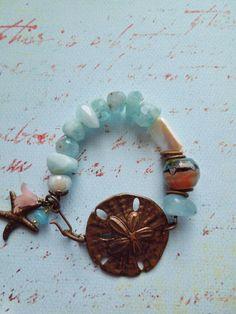 Grade A Aquamarine Art Glass and Pearl by hangingbyathread1, $54.00