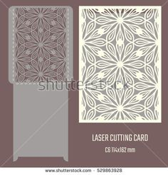 DIY laser cutting vector envelope. Wedding die cut invitation template. Cutout silhouette card. Scrapbook carved paperwork. Floral layout
