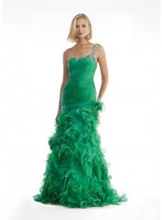 One Shoulder Brush Train Green Organza Trumpet Mermaid Prom Dress