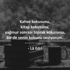 Kahve kokusunu, kitap kokusunu, yağmur sonrası toprak kokusunu, bir de senin kokunu seviyorum. - Lâ Edrî