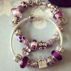 Purple Pandora bracelet Vos Pandora Vos créations Your creation Des bracelets…