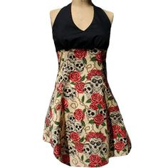 """""""Swing Me Down Skulls and Roses Rockabilly"""" Halter Dress by Hemet from the Inked Shop"""