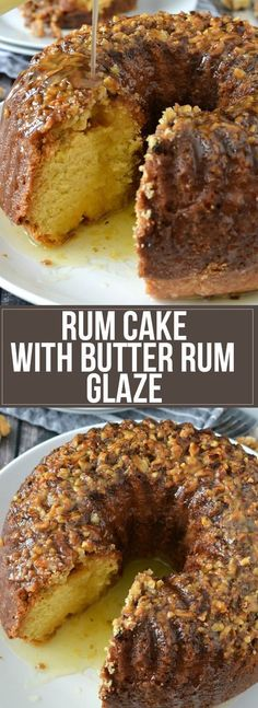 easy homemade recipe for moist and delicious Rum Cake with topped with Butter Rum Glaze perfect for any holiday or occasion!An easy homemade recipe for moist and delicious Rum Cake with topped with Butter Rum Glaze perfect for any holiday or occasion! Brownie Desserts, Just Desserts, Delicious Desserts, Dessert Recipes, Dinner Recipes, Appetizer Recipes, Breakfast Recipes, Lunch Recipes, Dinner Ideas